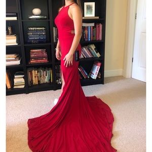 Sherri Hill Red Halter Dress